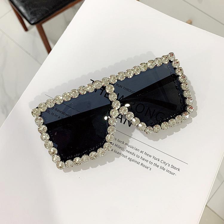 trendy diamond-studded cool big box sunglasses women fashion sunglasses wholesale nihaojewelry NHKD237399