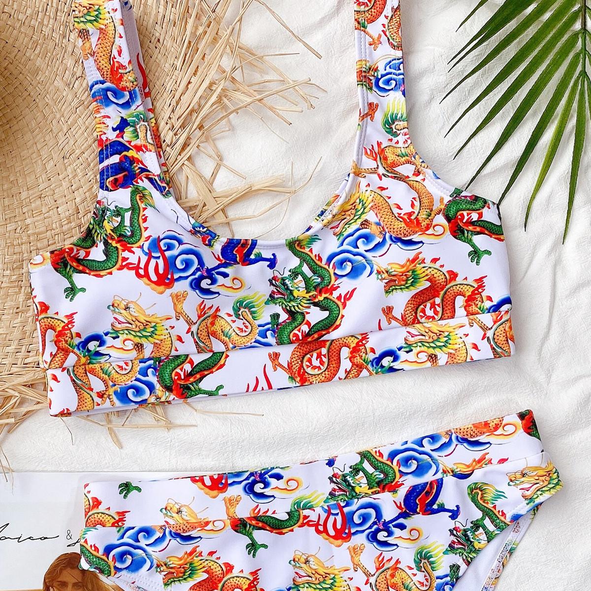 new ladies swimwear hot sale dragon split bikini wholesale NHDA79