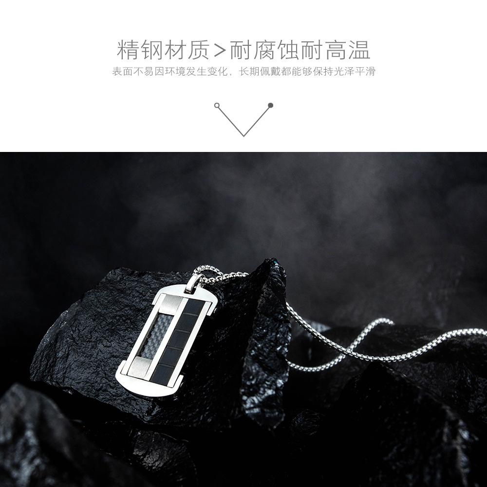 Fashion New Tag Personality Black Carbon Fiber Trendy Mens Military Pendant Mens Titanium Steel Necklace wholesale nihaojewelry NHOP219985