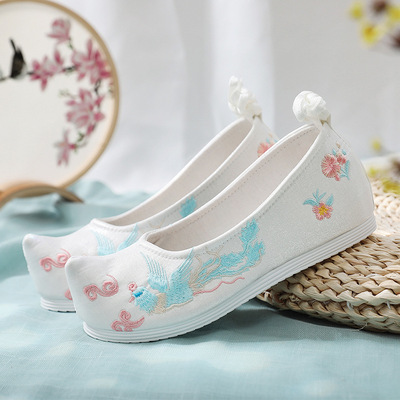 Chinese Han fu dress shoes flat bottomed lace up shoes ancient matching shoes student girls chinese drama performance shoes