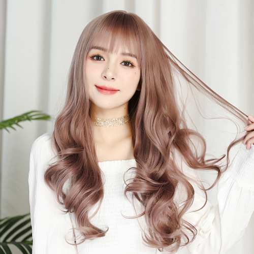 female long curly hair big wave wigs curly high temperature air bangs stage performance cosplay headgear