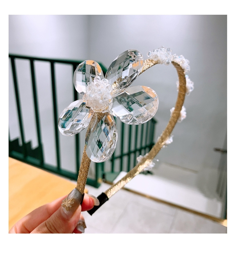 simple fashion hot sale Bling Crystal Flower Hair Band Little Fairy headband  wholesale nihaojewelry NHHD238270