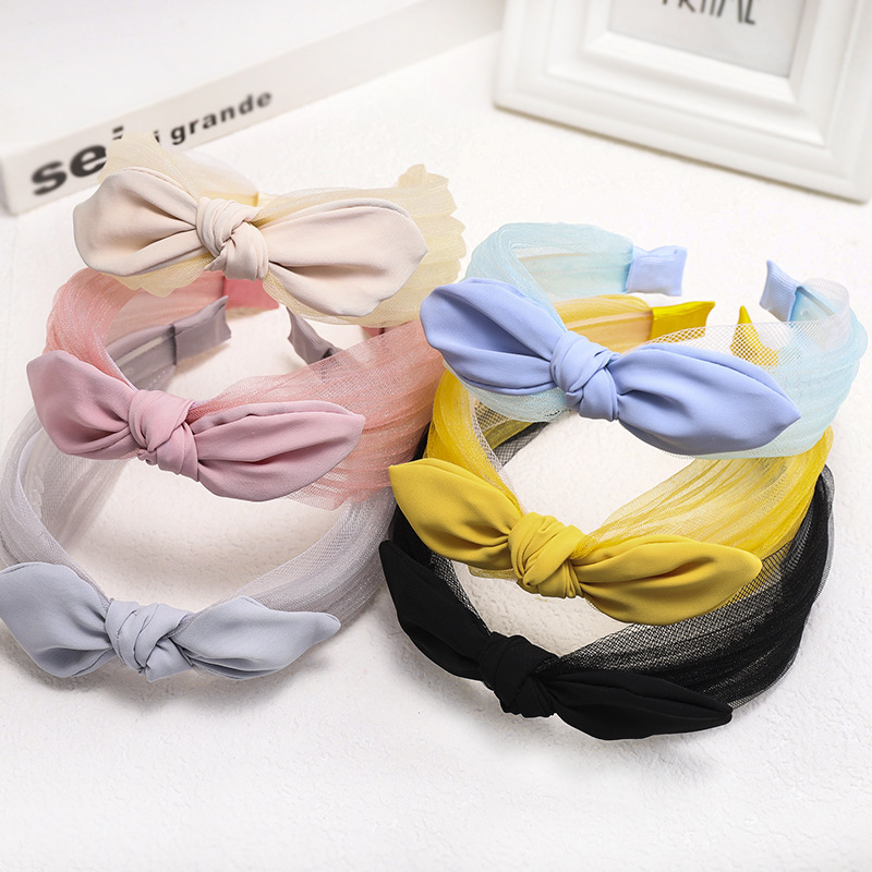 Korean new fashion lace knotted bow tie headband cheap headband wholesale NHDM207766