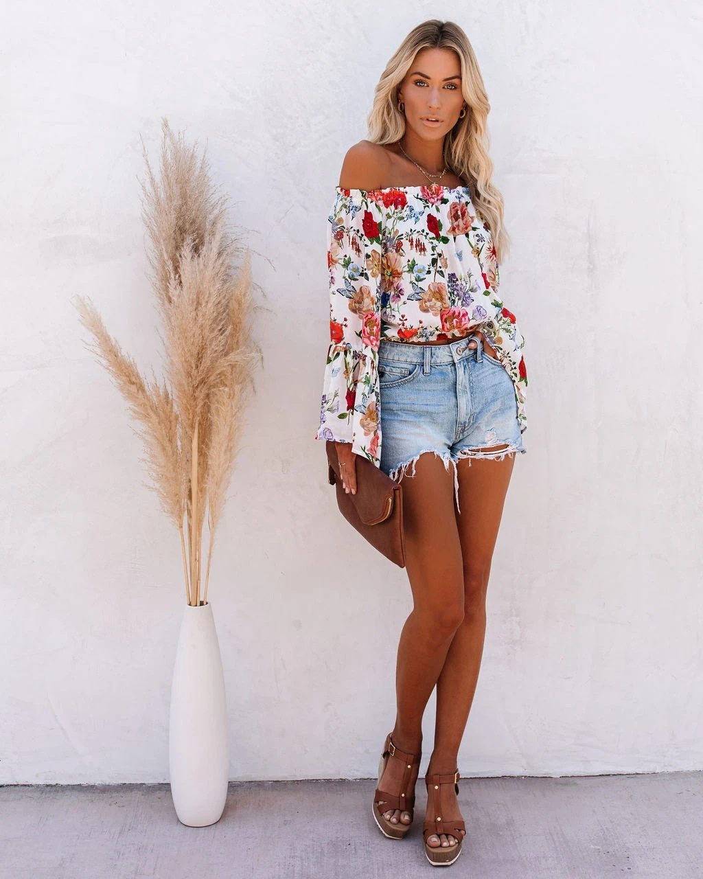 new printing one-shoulder flared sleeve high-waist all-match blouse NSYD3832