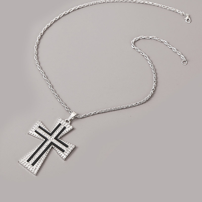Exaggerated geometric hip hop cross necklace mens trend hiphop pendant jewelry wholesale nihaojewelry NHLA228099