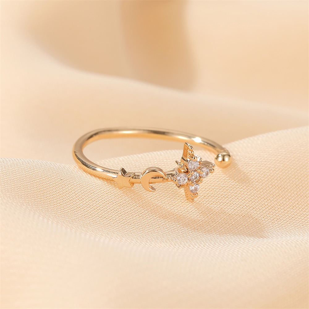 hot selling simple star moon ring classic opening adjustable finger ring wholesale nihaojewelry NHDP244370