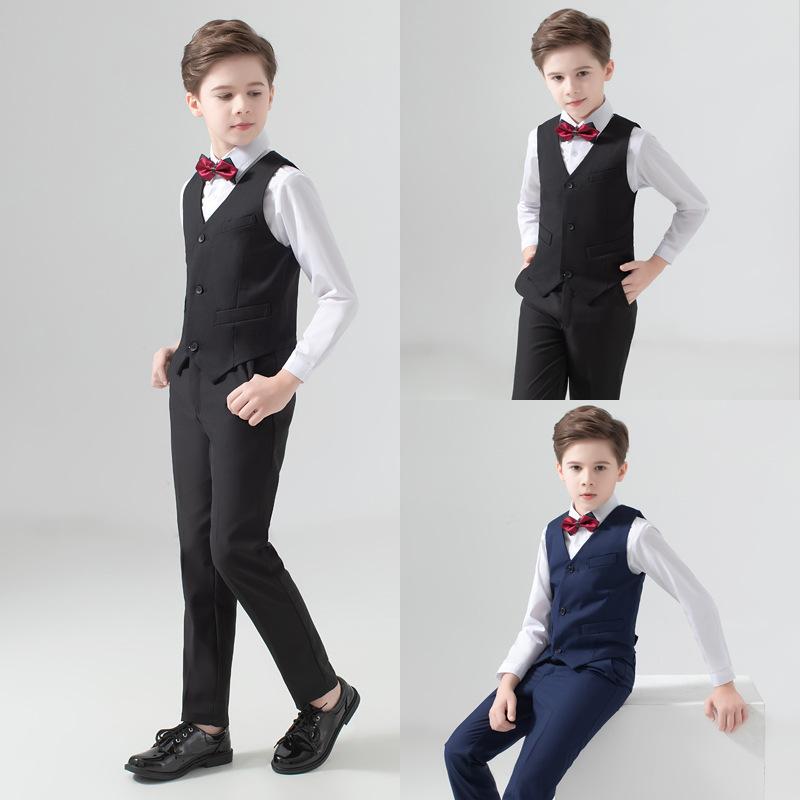 儿童礼服婚礼花童男孩表演演出服钢琴套装西服三件套中大男童西装