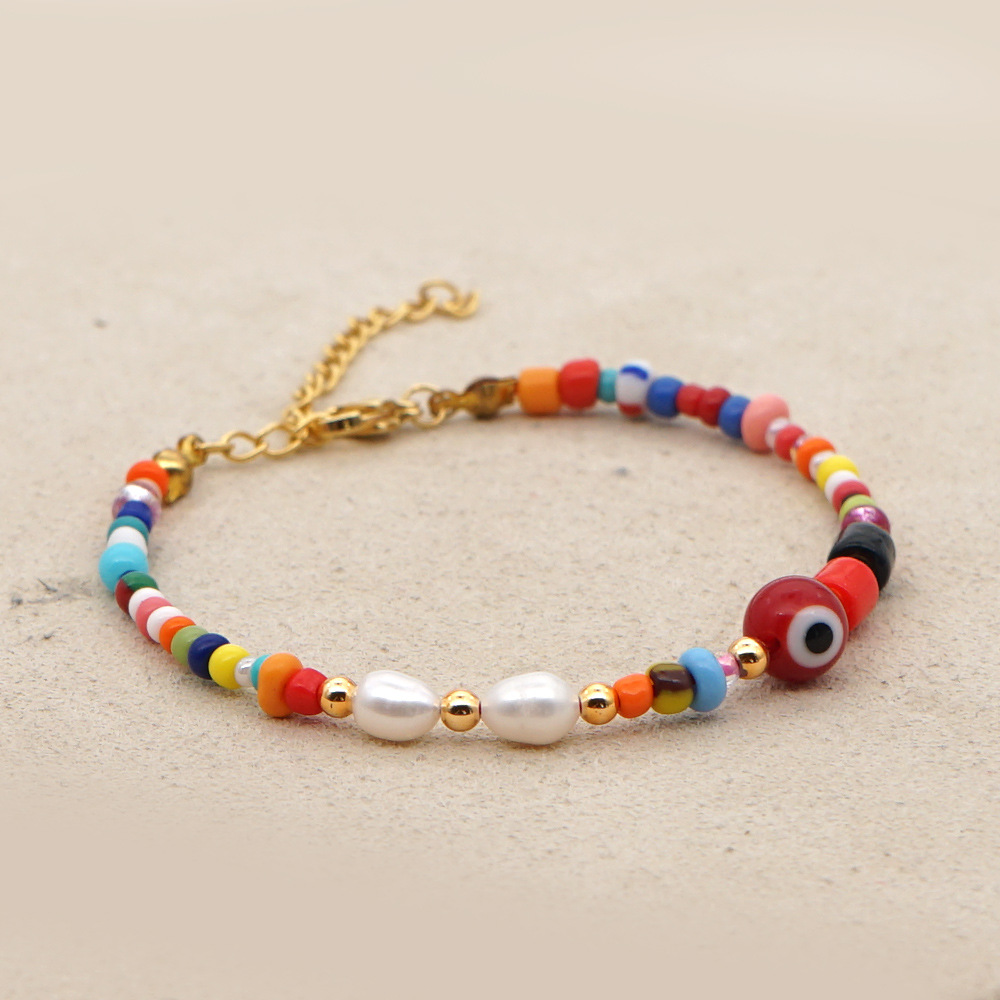 Creative fashion simple color rice beads fashion ethnic style bracelet natural freshwater pearl bracelets wholesale nihaojewelry NHGW236387
