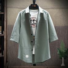跨境出口 夏季新款純色貼標襯衫男士 韓版修身青年休閑七分袖襯衫