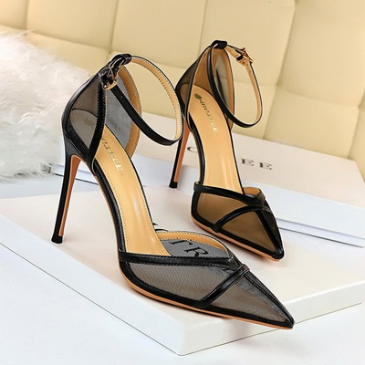 9863-2 the European and American wind sexy high-heeled shoes with shallow thin mouth pointed hollow belt mesh hollow out