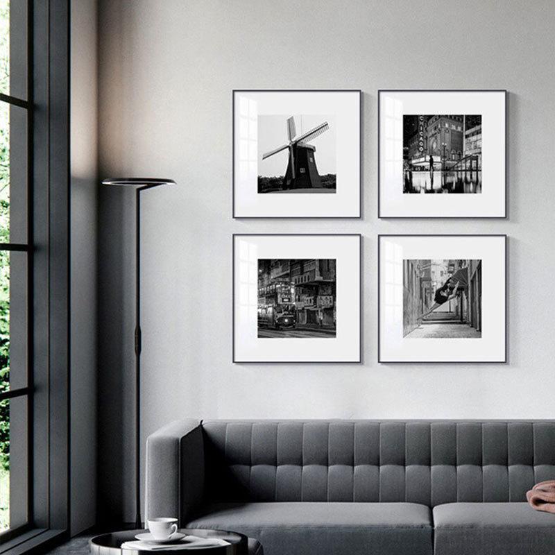 黑白摄影组合装饰画小众艺术样板房挂画酒店走廊卧室书房咖啡壁画
