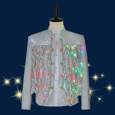 men's jazz dance suit blazers Boy handsome LED lights luminous singer top Dj stage costume night show trend sequins tassel jacket
