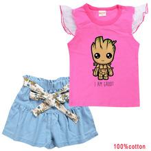 I am Groot 银河护卫队树人宝宝格鲁特 8253 中大童装纯棉T恤套装