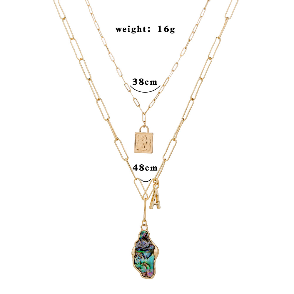 Fashion design metal round pearl multilayer hip hop style clavicle chain pendant necklace for women NHAN245527