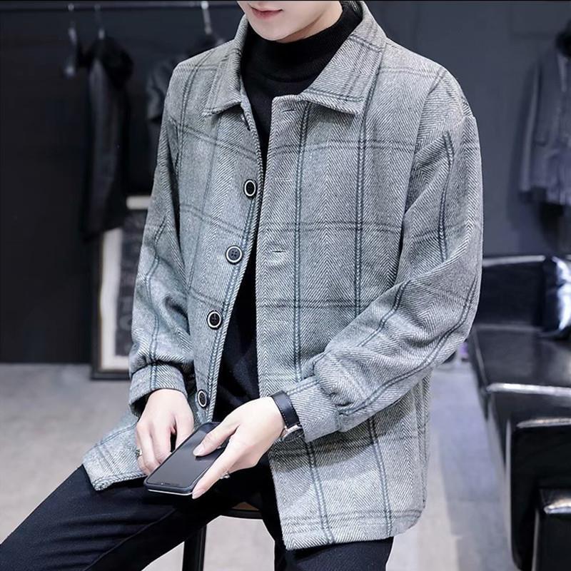 港风韩版毛呢外套男春秋季潮流呢子上衣帅气ins宽松格子风衣夹克