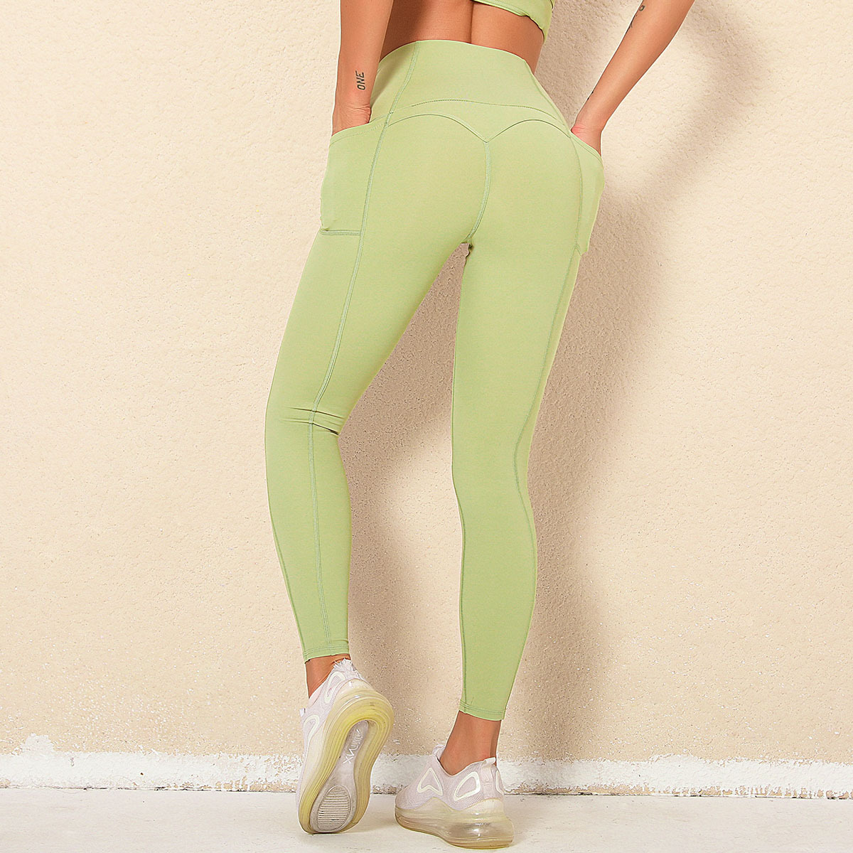 sanding high waist hip tight elastic fitness pants NSLX9038