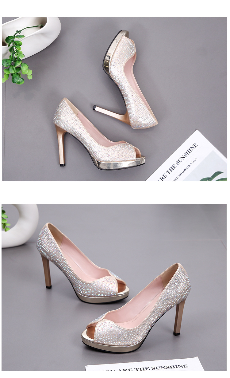 Spring and Autumn New Fish Mouth Fashion High Heels Stiletto Waterproof Rhinestone Shallow Temperament Single Shoes NHSO200246