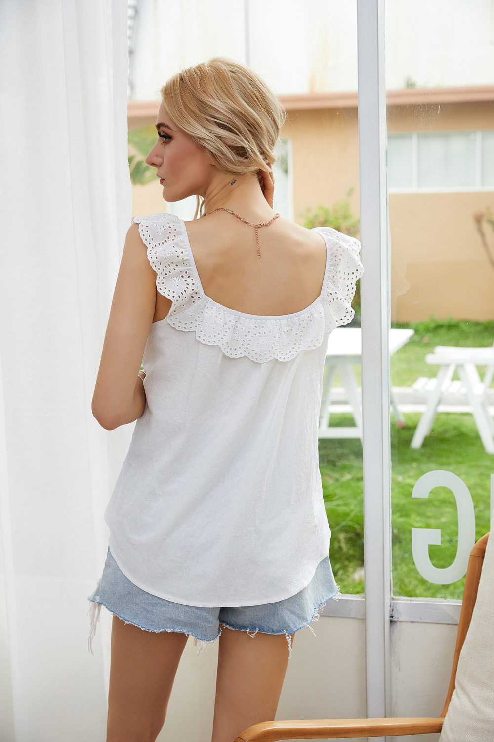 white vest sling lotus leaf lace shirt inside and outside wear home casual top NSDF1537