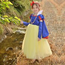 圣诞节白雪公主礼服色丁披肩新年蓬蓬裙 花童三件套定制女童裙