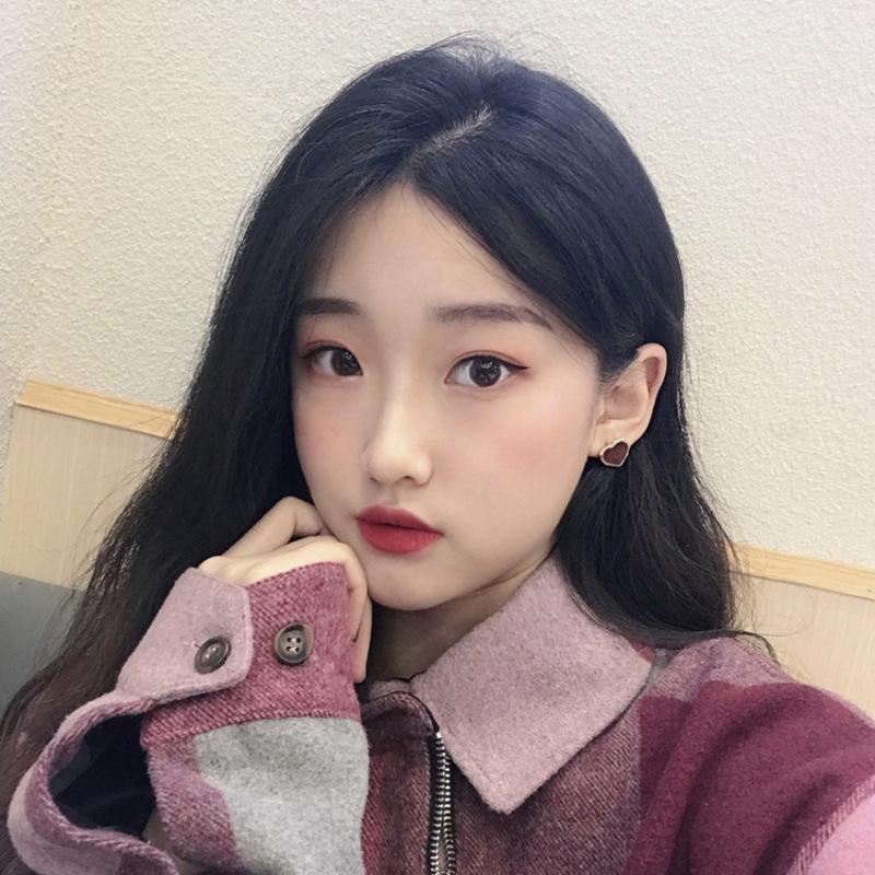 Korea simple irregular love peach heart sweet wine red earrings for women NHXI246890