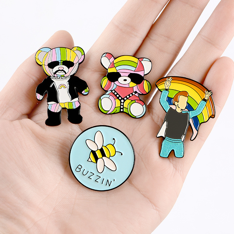 Cute cartoon rainbow bear enamel brooch bee butterfly brooch NHBO199834