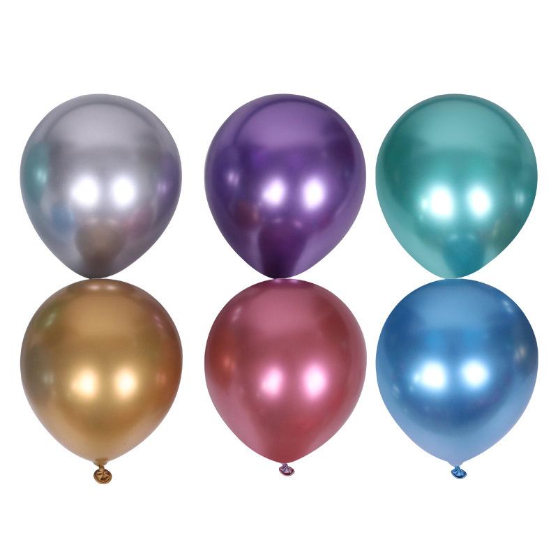5 بوصة 1 جرام لون معدني سميك من اللاتكس الذهبي والفضي بالون تزيين غرفة عيد ميلاد بالون لاتكس بالجملة