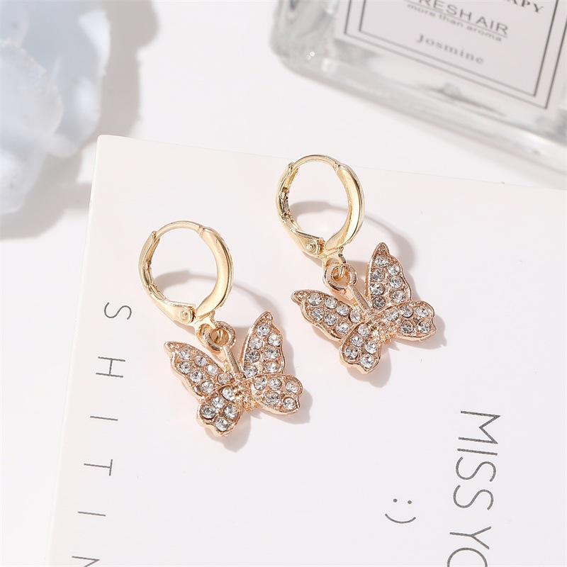 The new fashion earrings inlaid with diamond butterfly earrings wholesale female butterfly earrings wholesale NHMO207812