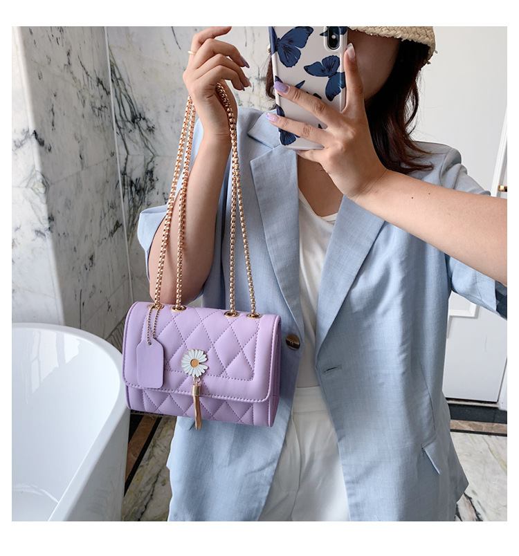 Summer small bag women bag popular new wave fashion tassel shoulder small square bag wild chain crossbody bag wholesale nihaojewelry NHTC225150