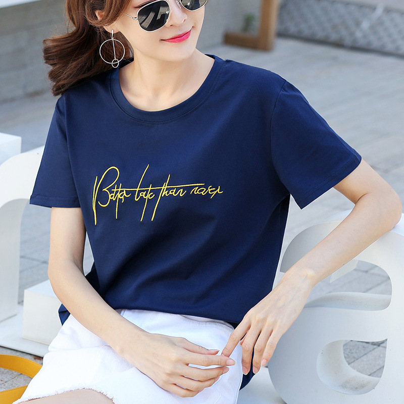 Right Posture 2021 New Summer Cotton T-shirt Ladies Embroidery Short-sleeved T-shirt Loose Korean Half-sleeved Ins Trendy Women's Clothing