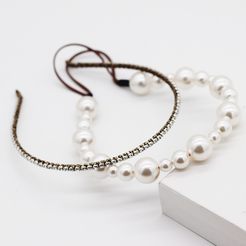 New fashion simple  pearl rhinestone double hair accessories party street photo headband nihaojewely wholesale NHWJ216166