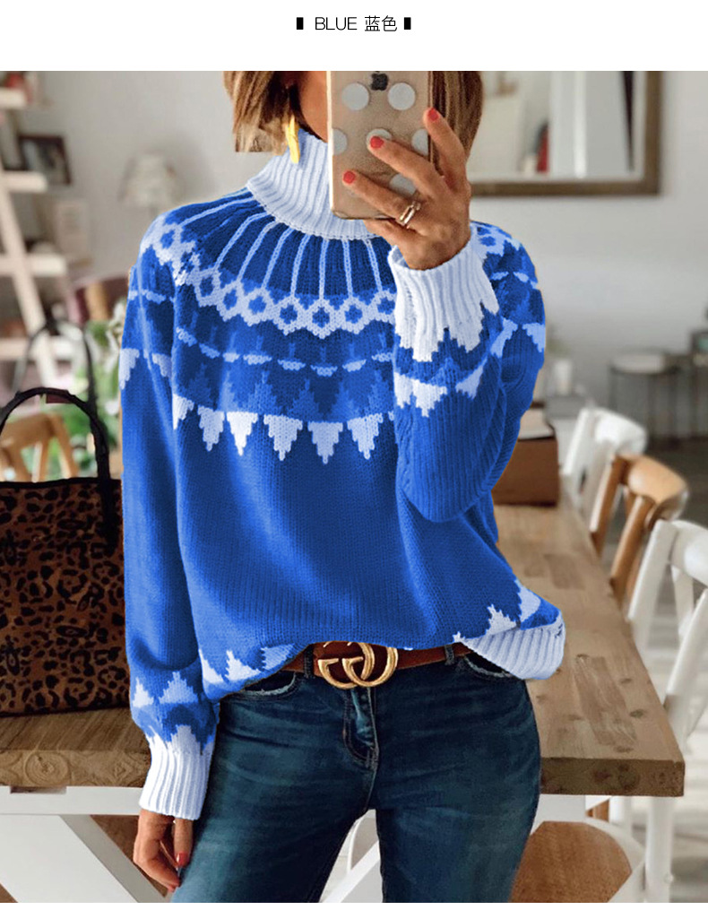 new snowflake pattern turtleneck sweater pullover blouse  NSSI3009