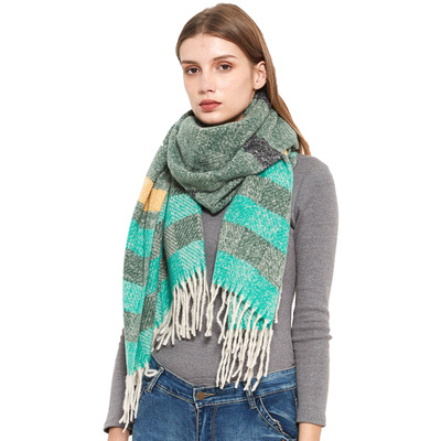 Men loop yarn barbed fringes striped scarf for women extra warm shawl