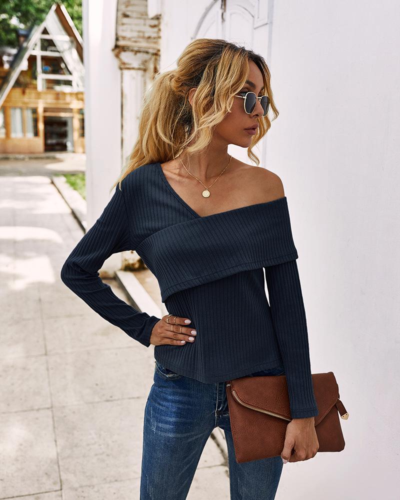 Fashion women's autumn new sexy strapless long-sleeved T-shirt  NHKA244067