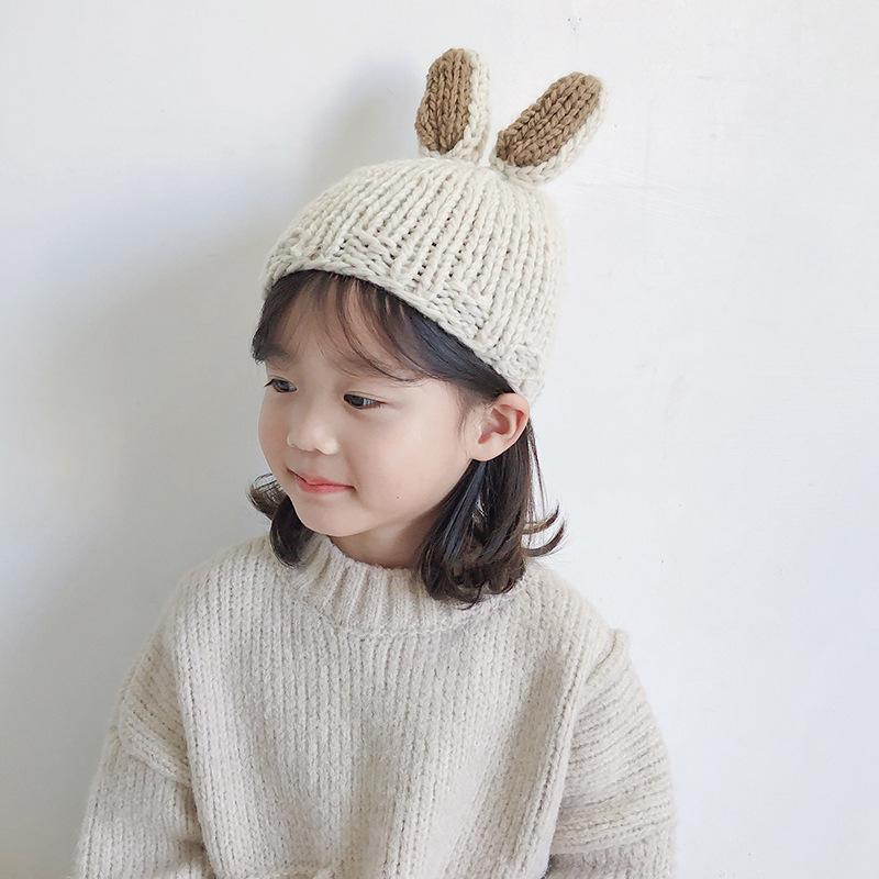 儿童毛线帽子潮女童针织帽韩版宝宝兔子套头帽小男童保暖帽秋冬季
