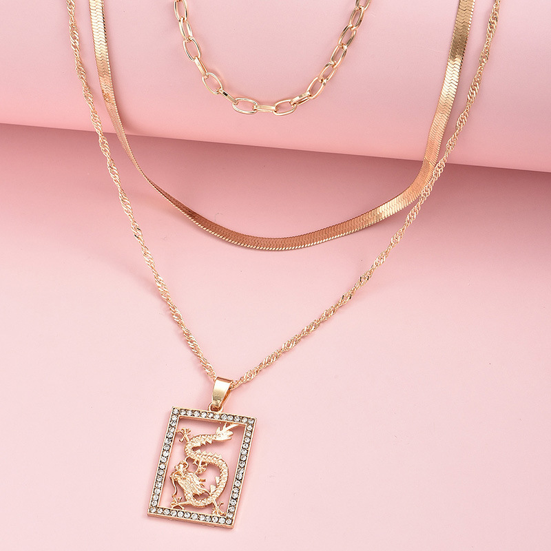 fashion Chinese style pendant dragon multi-layer necklace  NHAJ315976