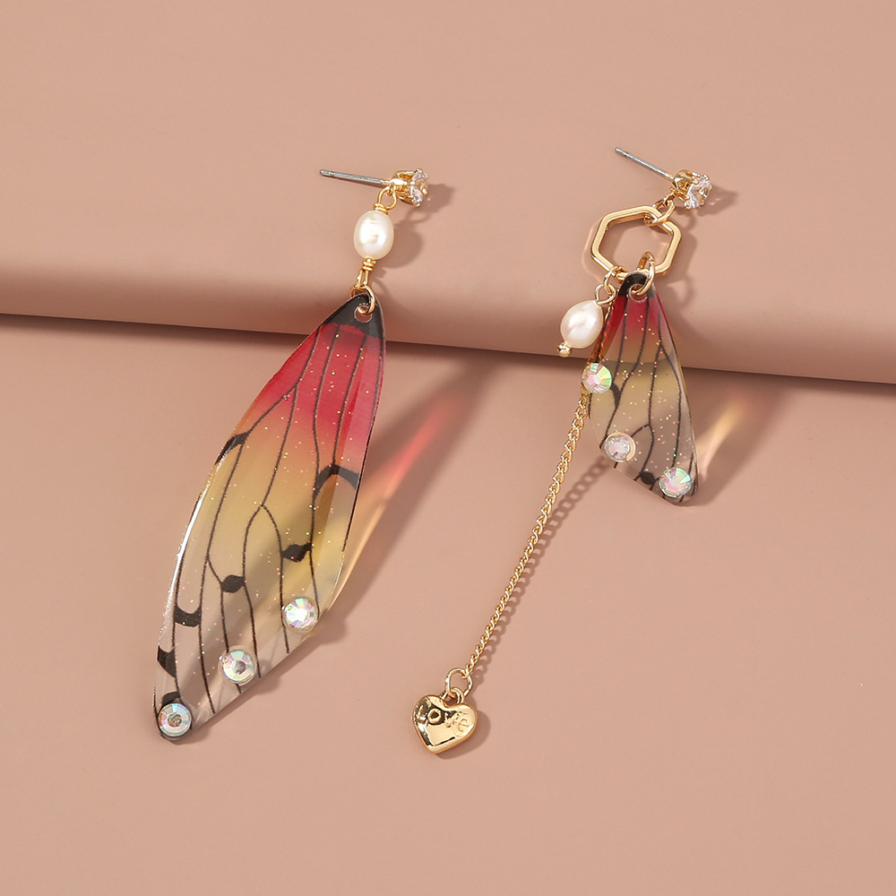 fashion earrings creative butterfly simulation asymmetric resin earrings NHAN263041