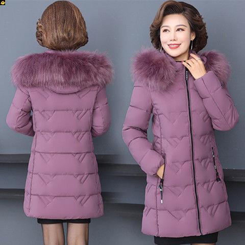 加妈装冬装外妈服厚羽绒棉款中长款新套中老年女装棉袄中年女棉衣