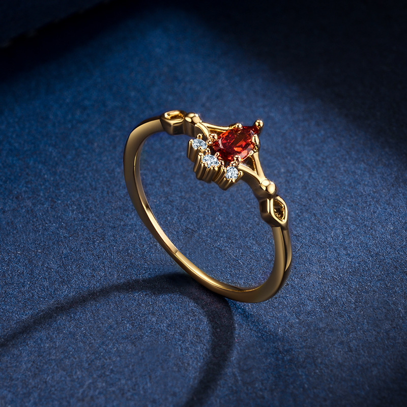Korea simple ruby ring gold-plated micro-inlaid  ring wholesale NHLJ253512