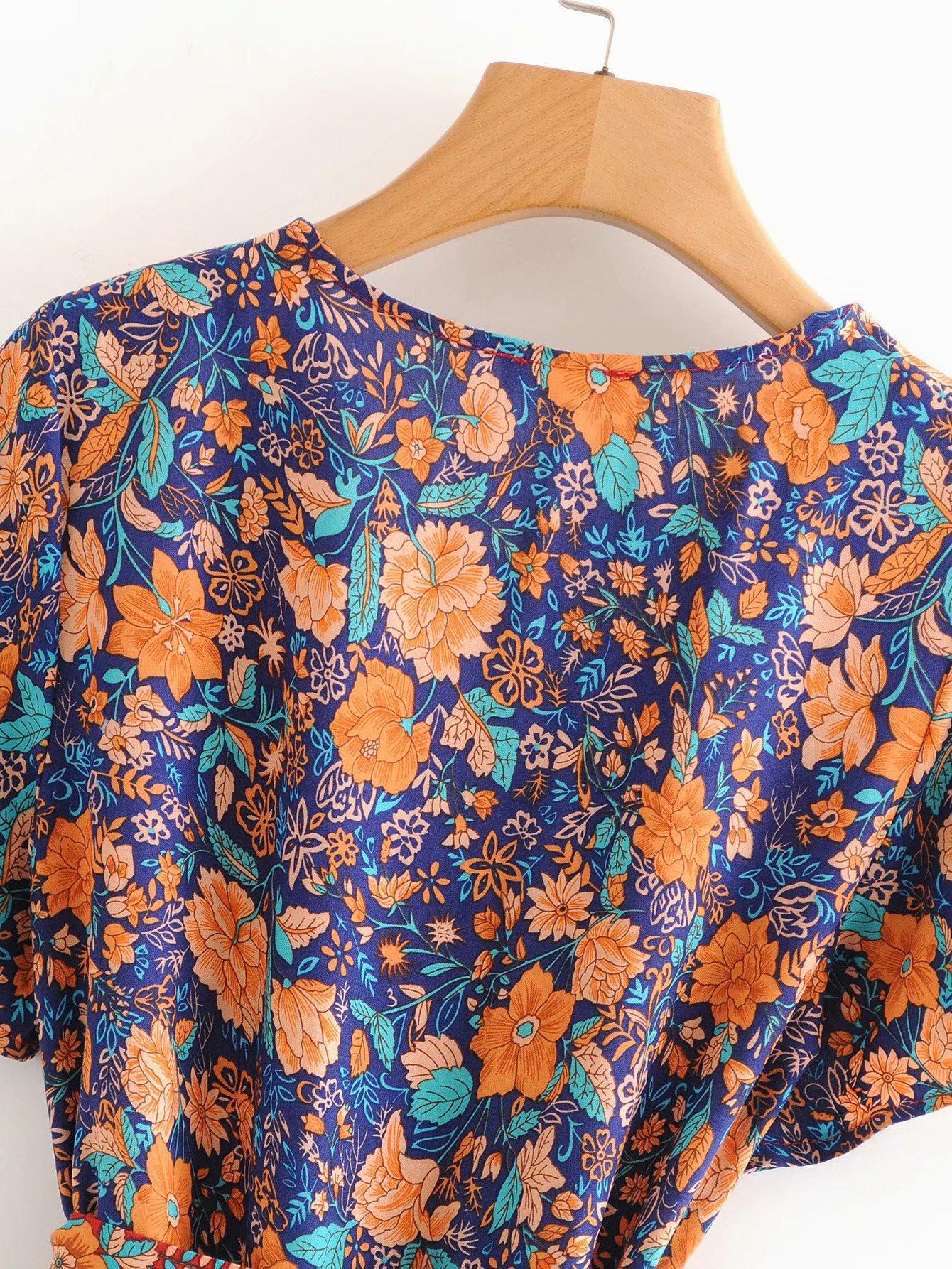 Wholesale lotus positioning printed wrap slim fit cotton dress NHAM204842