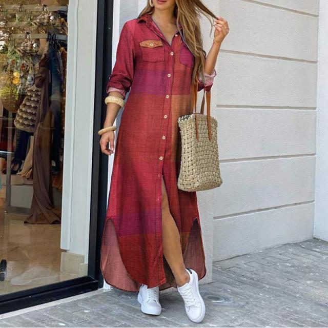 autumn new fashion long sleeve shirt skirt long dress NSYF825