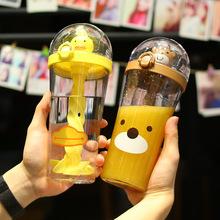 创意爆款小黄鸭小猪吸管水杯卡通搅拌杯 可爱少女儿童网红杯子