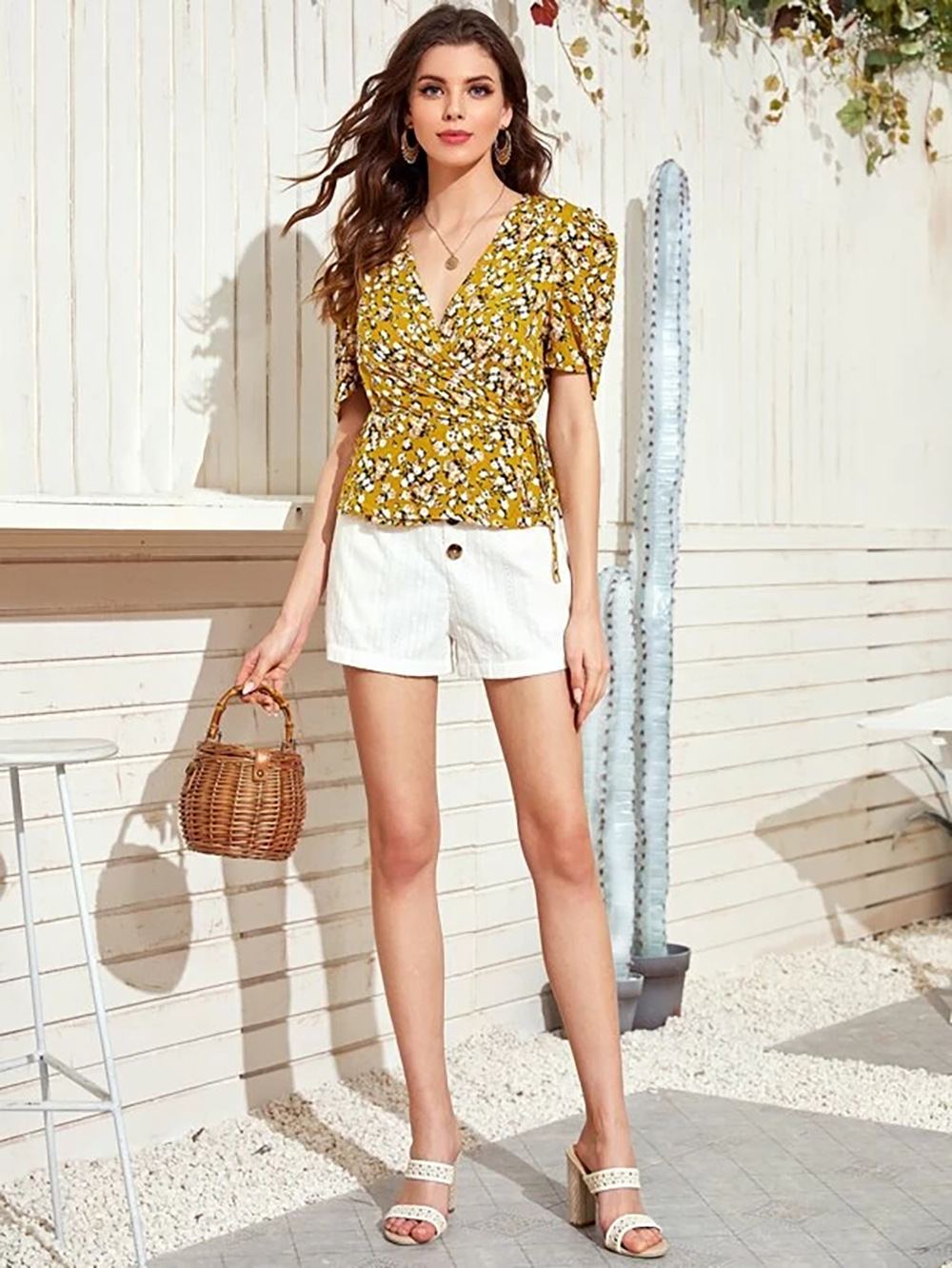 Women's V-neck Printed High Waist Yellow Floral Top NSDF1535
