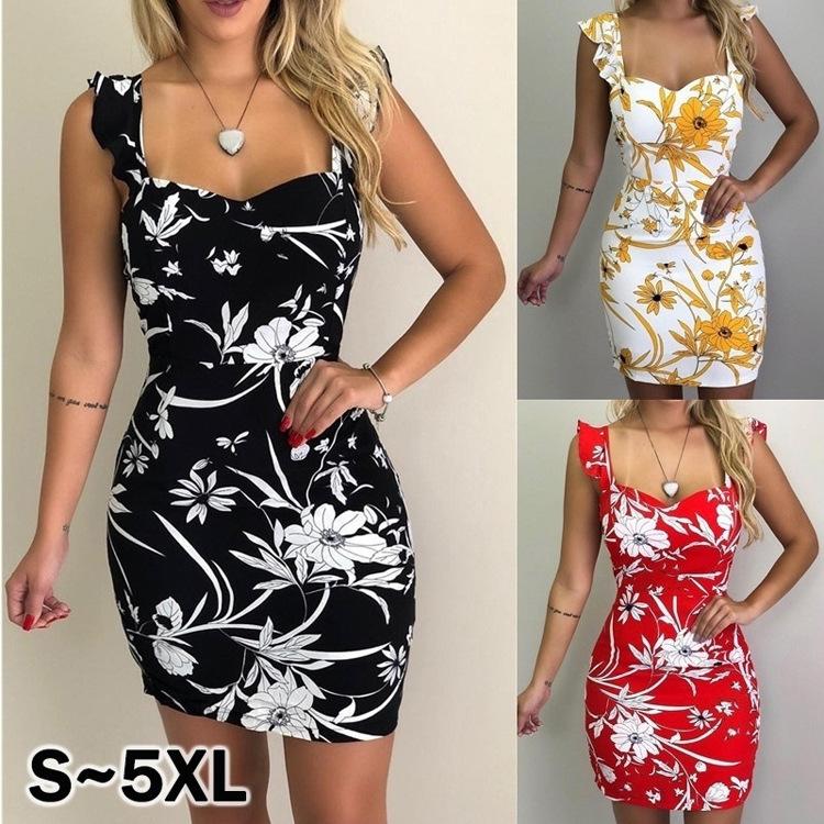 2020WISH速賣通爆款歐美女裝eBay夏季無袖吊帶印花露背包臀連衣裙