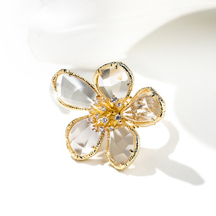 European and American personality exaggerated crystal flower ring femininity Korean fashion open ring net red index finger ring tide