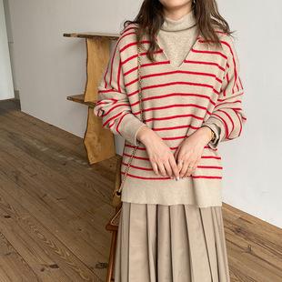 Sweater women autumn/winter 2020 new Japanese style lapel striped long-sleeved sweater Korean style niche design knit sweater
