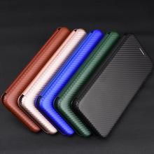 适用iPhone12碳纤维翻盖皮套手机壳苹果11商务插卡三星S20U保护套