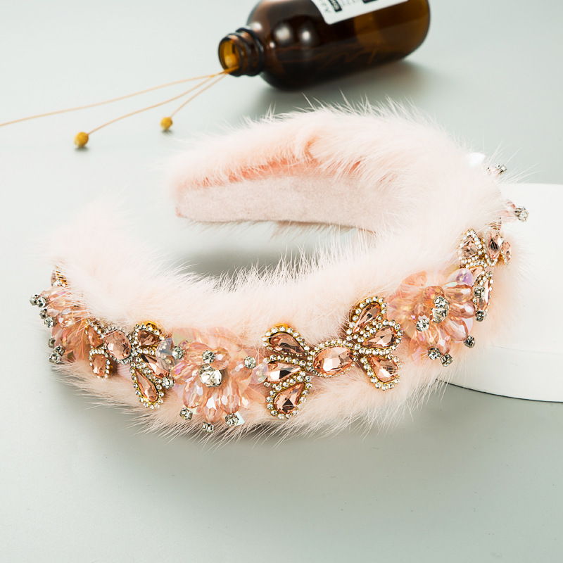 new high-end fluffy luxury crystal diamond wide-brimmed hair band  NHLN286770