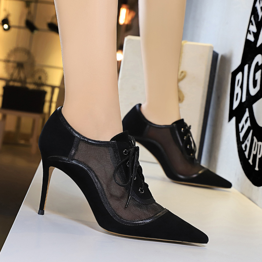 Big Tree European And American Style Sexy Slim Nightclub High-heeled Suede Pointed Toe Mesh Hollow Lace-up Deep Mouth Women's Single Shoes