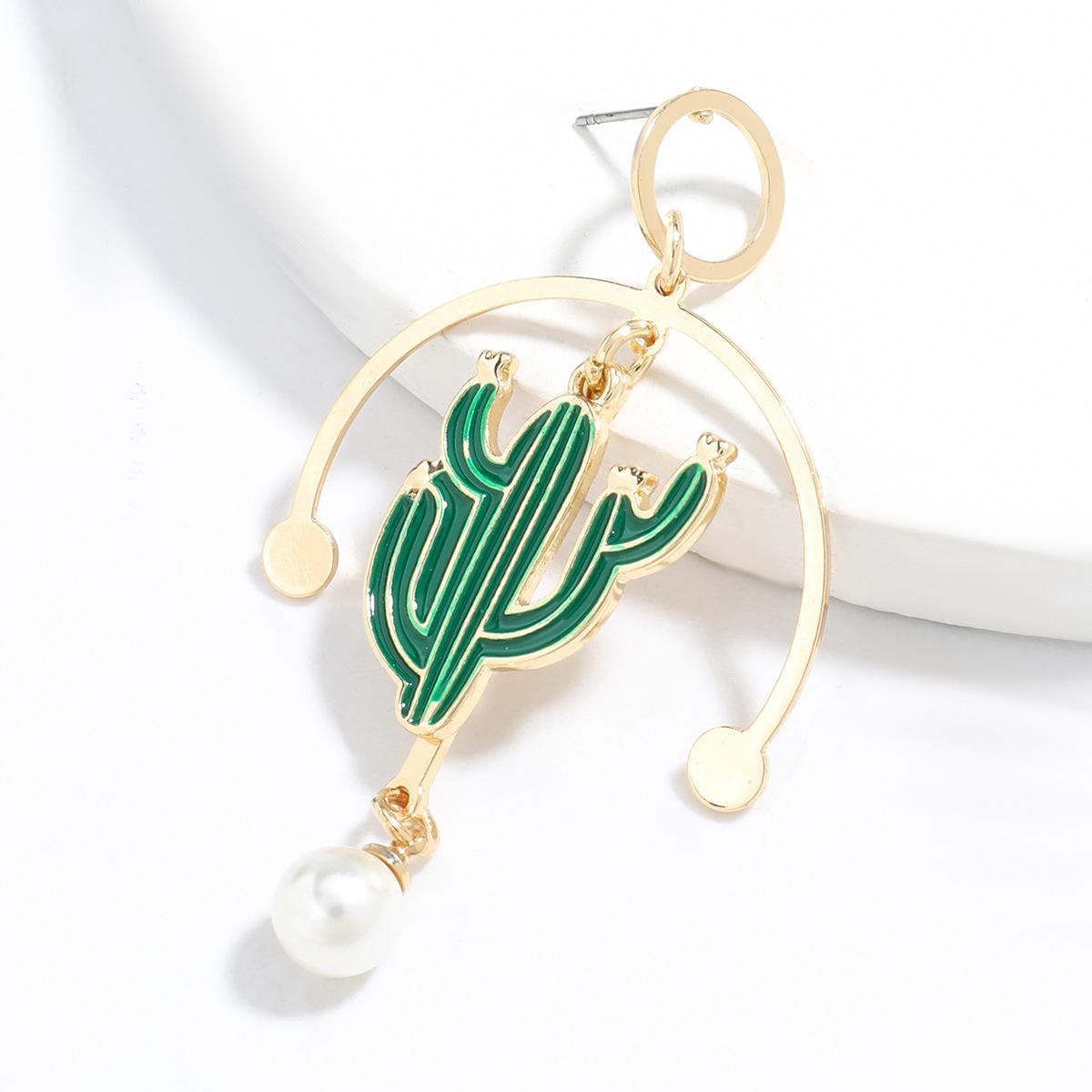 design sense creative alloy drop oil inlaid pearl cactus earrings wholesale NHJE248101