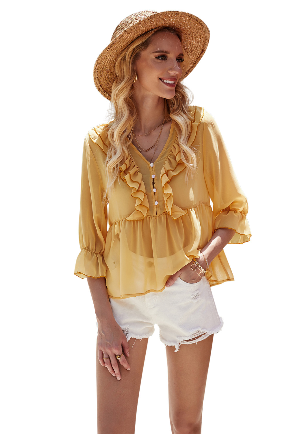 summer new women's wooden ear side shirt cover meat loose baby shirt waist top NSDF403